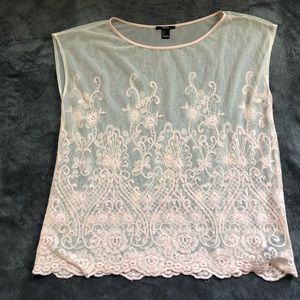 Pale pink mesh top, forever 21 size L